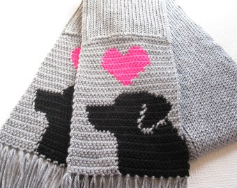Labrador Retriever Scarf.  Grey, crochet and knit scarf with hot neon pink hearts and black labs. Dog scarf.