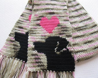 Labrador retriever scarf. Pink camo knit scarf with black labs and hearts. Knitted dog scarf.