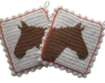 Horse Pot holders.  Large, crochet potholders with horse silhouettes. Horse decor
