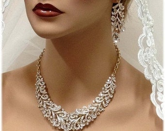 Wedding jewelry , Bridal bib necklace , vintage inspired necklace, rhinestone bridal statement necklace earrings set