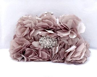 Wedding clutch, formal evening bag,  bridesmaid clutch, vintage inspired clutch, bridesmaid bag,Taupe ruffle clutch, bridal bag, Etsy gifts