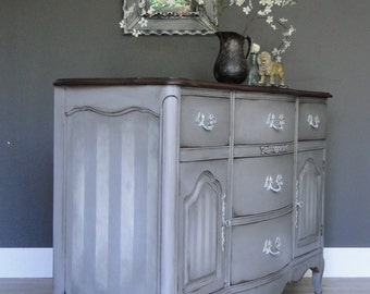 SOLD***   French Provincial Buffet, Sideboard, Entry Table in Greige Gray Beige Linen and Dark Stained Rustic Top Modern Vintage