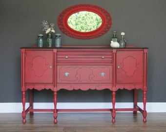 "SOLD***   Antique Ornate Buffet, Sideboard, Entry Table Bright Bold Coral, Dark Stained Top ""Coral Crush"" Modern Vintage"