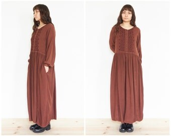 90s Earthy Brown Long Sleeve Sundress / Oversize Peasant Dress