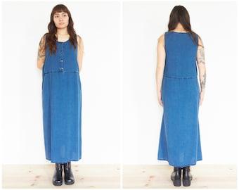 90s Blue Chambray Denim Sundress / Sleeveless Tank Dress