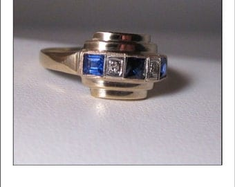 Antique Deco 14k Sapphire  Diamond Tiered Ring Band