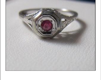 Antique Art Deco 14k Ruby Filigree Engagement Ring