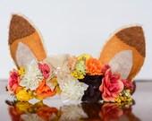 Fox Ears Flower Crown - Foxy Flower Rustic Halo - Woodland Animals - First Birthday - Newborn Prop - Floral Hairpiece