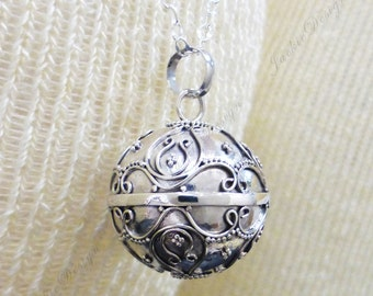 Large 20mm Tulips Harmony Ball (aka Mexican Bola) Pendant (Necklace)- Pregnancy Gift ZZ85