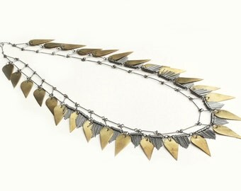Long statement belt or necklace made of brass and stainless steel