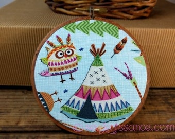 Timeless Treasures Owls and Teepees Hand Embroidery Hoop Art - Wall Hanging  Ready To Ship