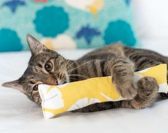 Yellow Gingko Catnip Toy. Cat stocking stuffer.  Catnip cigar.  Huge Catnip Kicker. Gray and Yellow Large Cat Toy. Cat Kicker Log. Cat gift.