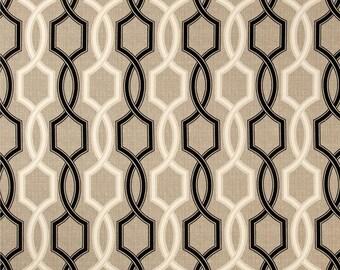 Two 26 x 26  Custom Designer Decorative Pillow Covers for Indoor/Outdoor - Geometric  Trellis - Black Tan  Beige