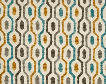 Two 16 x 26  Custom Designer Decorative Lumbar Pillow Covers  - Geometric Chain - Grey Teal Mustard Oatmeal