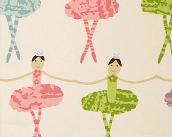 """Two 96"""" x 50""""  Custom  Lined Curtain Panels -  Ballet Dancers Tutu - Pink Green Blue"""