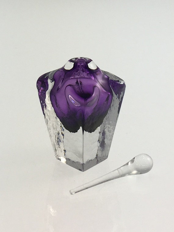Hand Blown Glass Perfume Bottle - Violet Cubic  by Jonathan Winfisky