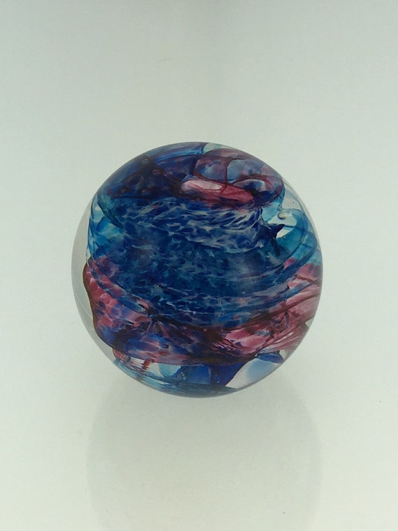 Hand Blown Glass Paperweight  - Solid Swirl Weight by Jonathan Winfisky