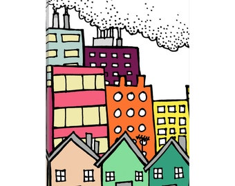 iCanvas Dirty City Gallery Wrapped Canvas Art Print by Sylvie Demers