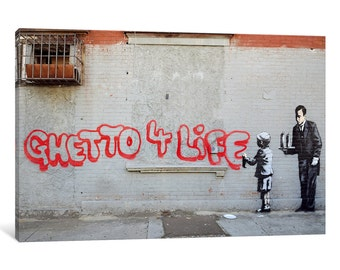 iCanvas Ghetto 4 Life Gallery Wrapped Canvas Art Print by Banksy