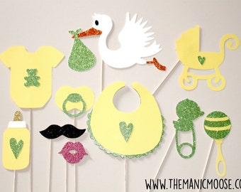Baby Shower Props - Gender Neutral Photo Props - Set of 10 Glitter Photo Booth Props - Yellow and Lime Green Glitter Photo Props