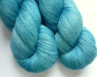Hand Dyed Lace Yarn -  55/45 Superwash BFL/Silk Lace Weight Yarn in Seven Seas Colorway