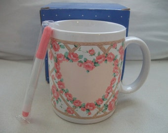 Vintage Avon Rose Trellis Sentiment Mug