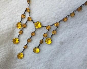 Topaz bib necklace bezel set open back in Sterling Silver flapper 1920s Edwardian 1910s