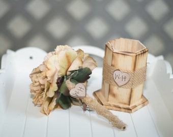 Guest book pen with vase select flower showing champagne peony pen