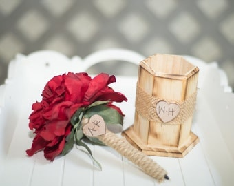 Burlap Guest book pen with vase select flower showing red flower peony pen