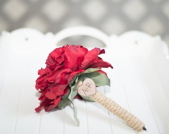 Burlap Guest book pen with flower showing red flower peony pen