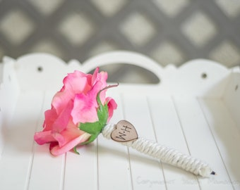 Burlap Guest book pen select flower showing pink rose pen with bride and groom initials