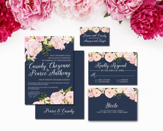 Navy and Blush Wedding Invitation Suite