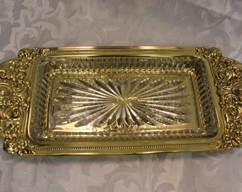 Gold Metal Serving Tray With Glass Insert - Copper Craft - Pressed Metal - Ornate Tray