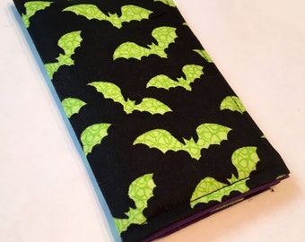 Green Bats wallet, Card holder, business Card Holder, Park Pass Holder, Small Wallet