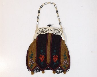 Vintage 1930s heavily beaded handbag bag purse floral flower pattern with celluloid frame