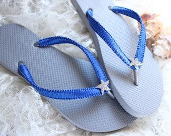Bridesmaid gift idea, Gray Flip Flops, Royal blue bridal flip flops, Wedding flat shoes, Silver wedding flip flops, beach wedding, cobalt