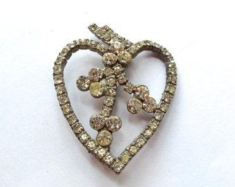 Vintage Rhinestone Heart Brooch Love Romantic Fashion Jewelry