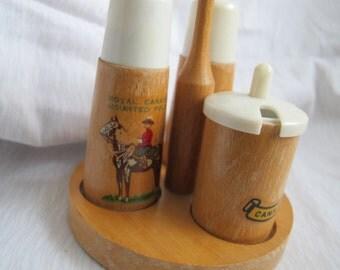 Canadian Souvenir Mid Century Wood Salt Pepper and Mustard Pot Set / RCMP salt pepper / Danish style Cruet Set / Mounted Police
