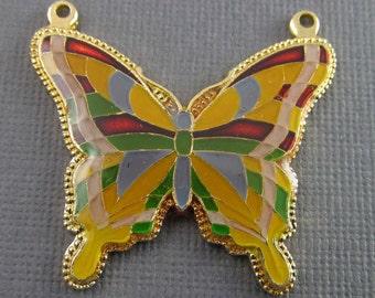 2 Vintage Goldtone Enameled Butterfly Metal Pendants Pd809