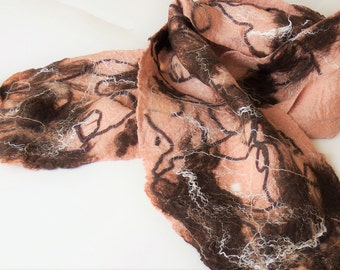Felted, cobweb, scarf, beige, pink, brown, textile shoulders cover, summer fashion, coffee, handmade,Canadian, abstract design wrap, for her