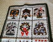 Vintage Christmas Linen tea kitchen Towel 12 Days of Christmas