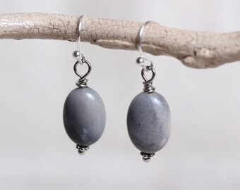 Smokey Gray Marble Jasper Stone Oval Earrings with Silver Ear Wires