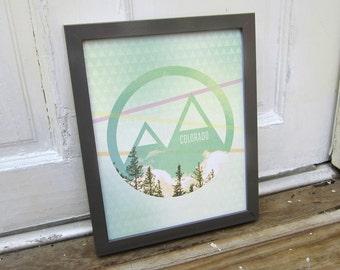 Colorado Print, Retro Modern, Rocky Mountains Art
