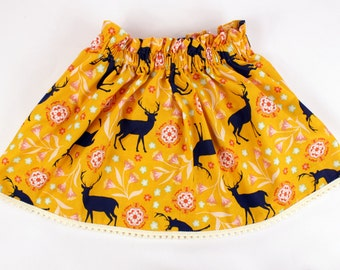 Girls Mustard Yellow & Navy Blue Deer Fall or Holiday Skirt with Pom Pom trim