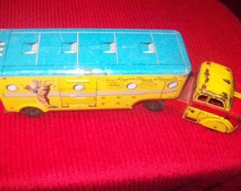 1950's Marx All Tin Roy Rogers, Trigger, and Trigger Jr. Dodge Truck & Trailer, Roy Rogers Collectibles, Roy Roger Fathers Day Gift