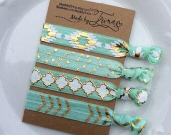 Mint AZTEC and gold hair tie bracelet set