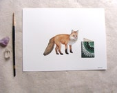 ORIGINAL // Critters and Cards: Fox // Watercolor and Pen