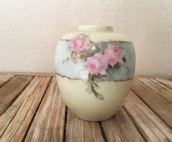 Vintage Vase Handpainted Yellow Vase