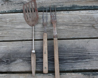 Primitive Utensils - Home Decor - Set of Three - Aged