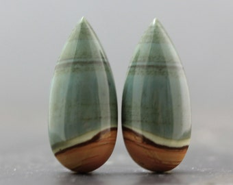 Natural Gems, Premium Quality Jasper Natural Earring Pair Earth Tone Jewelry Setting Cabochons Set of Two Loose Stone Jewels (CA4915)